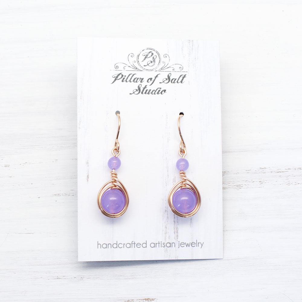 rose gold-filled violet quartz earrings