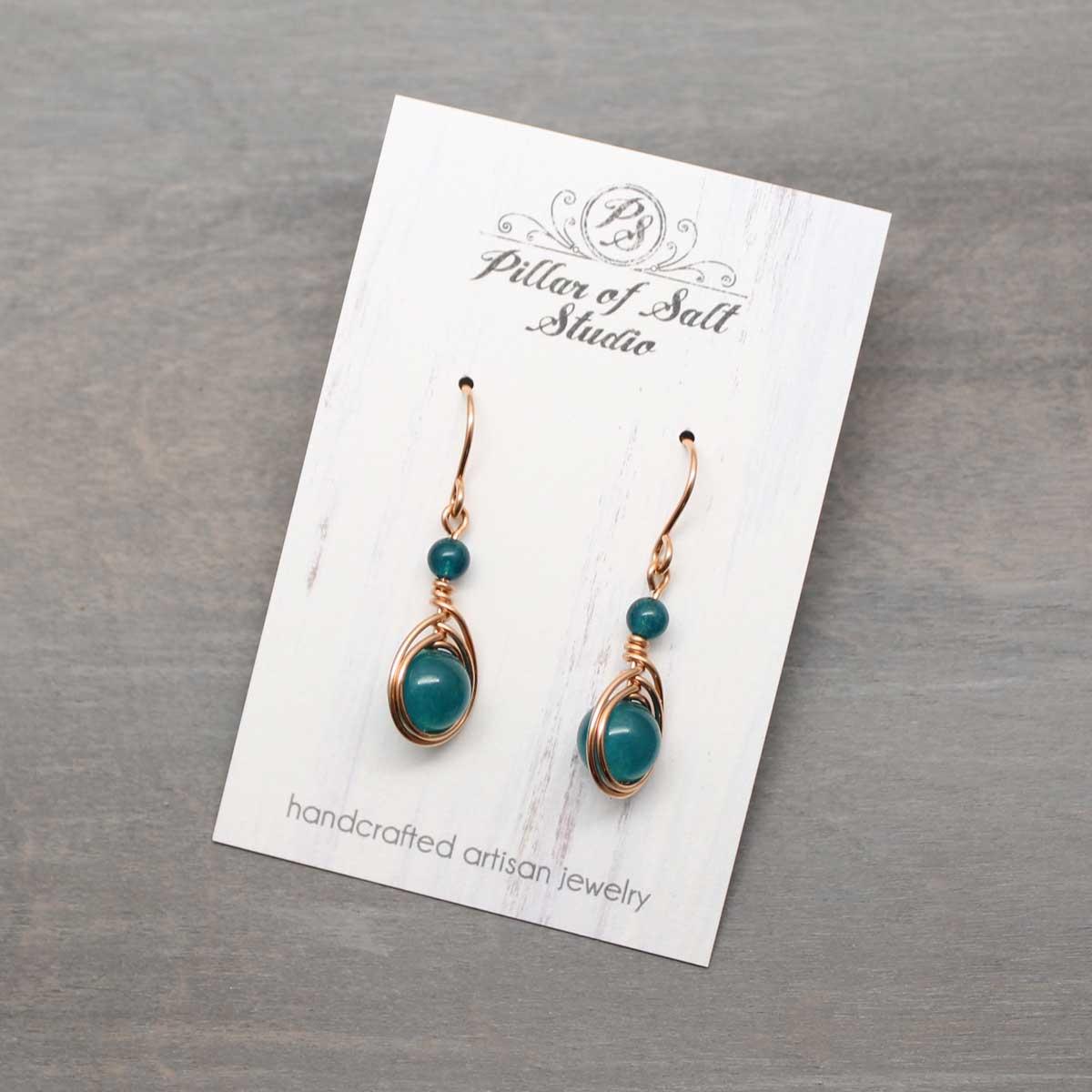 Peacock Green Quartz Rose Gold Filled Earrings