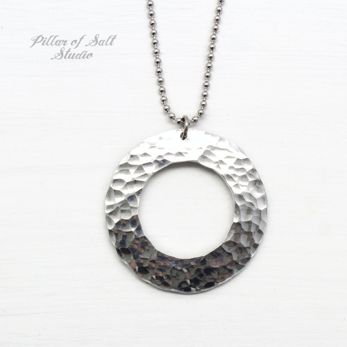 Hammered Aluminum Large Washer Necklace