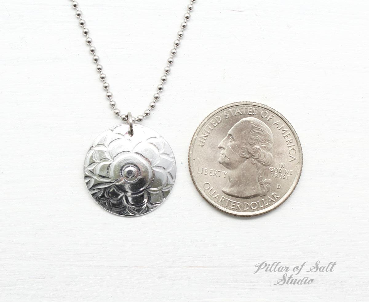 Textured Aluminum Disc Necklace