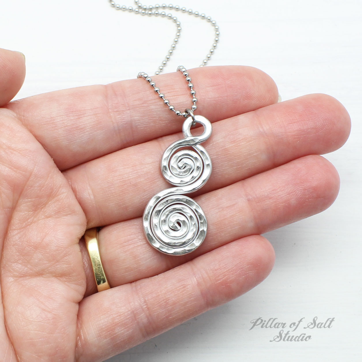 Hammered Aluminum Double Spiral Necklace