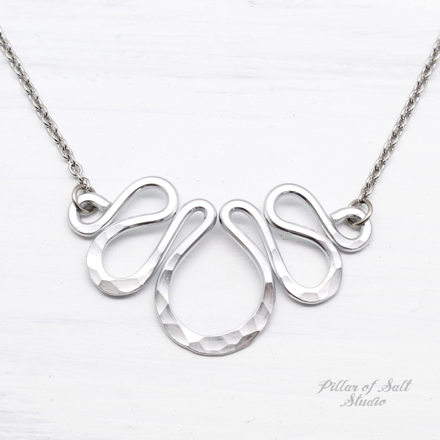 Aluminum necklace with stainless steel chain--a great 10th anniversary gift idea.