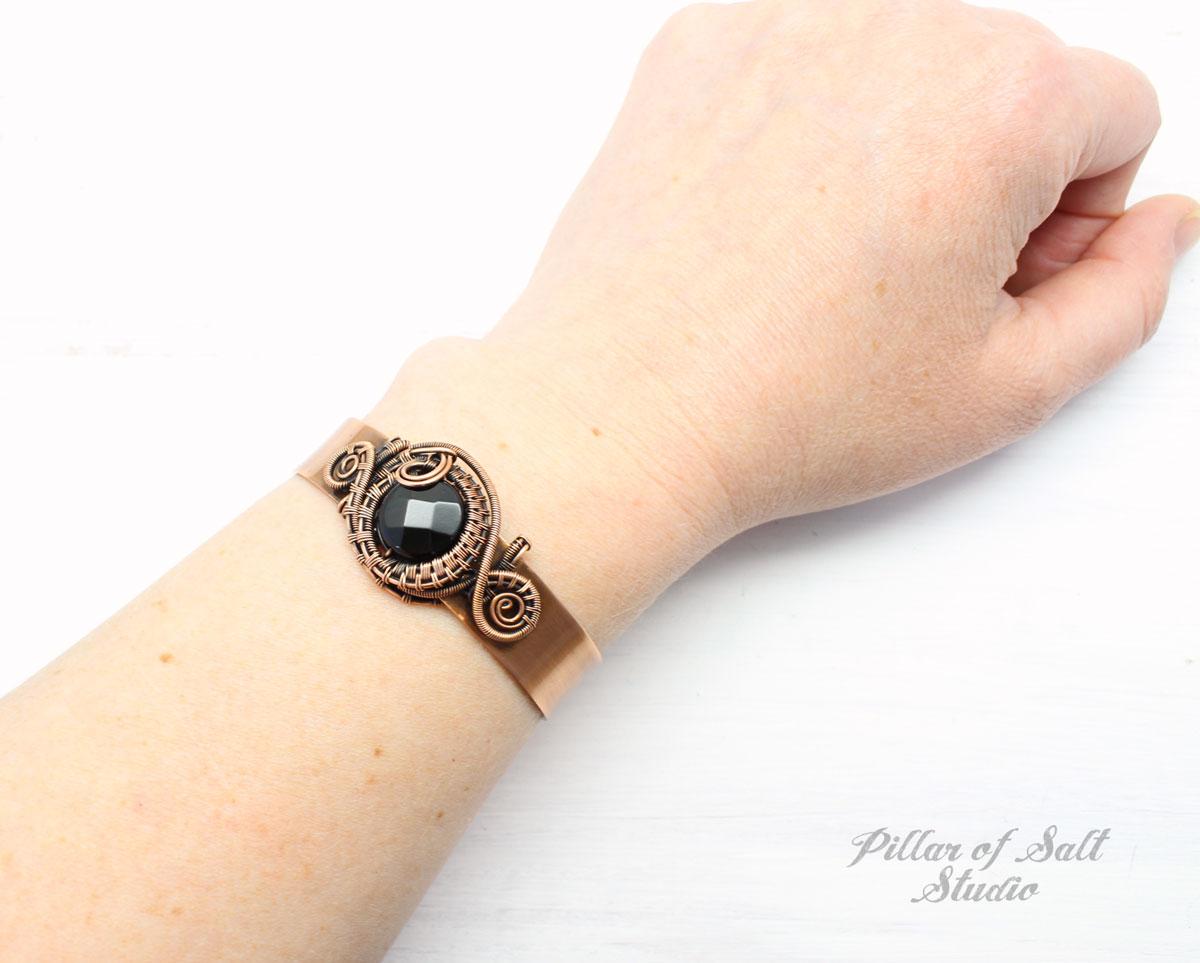 Black Onyx and Copper Cuff Bracelet