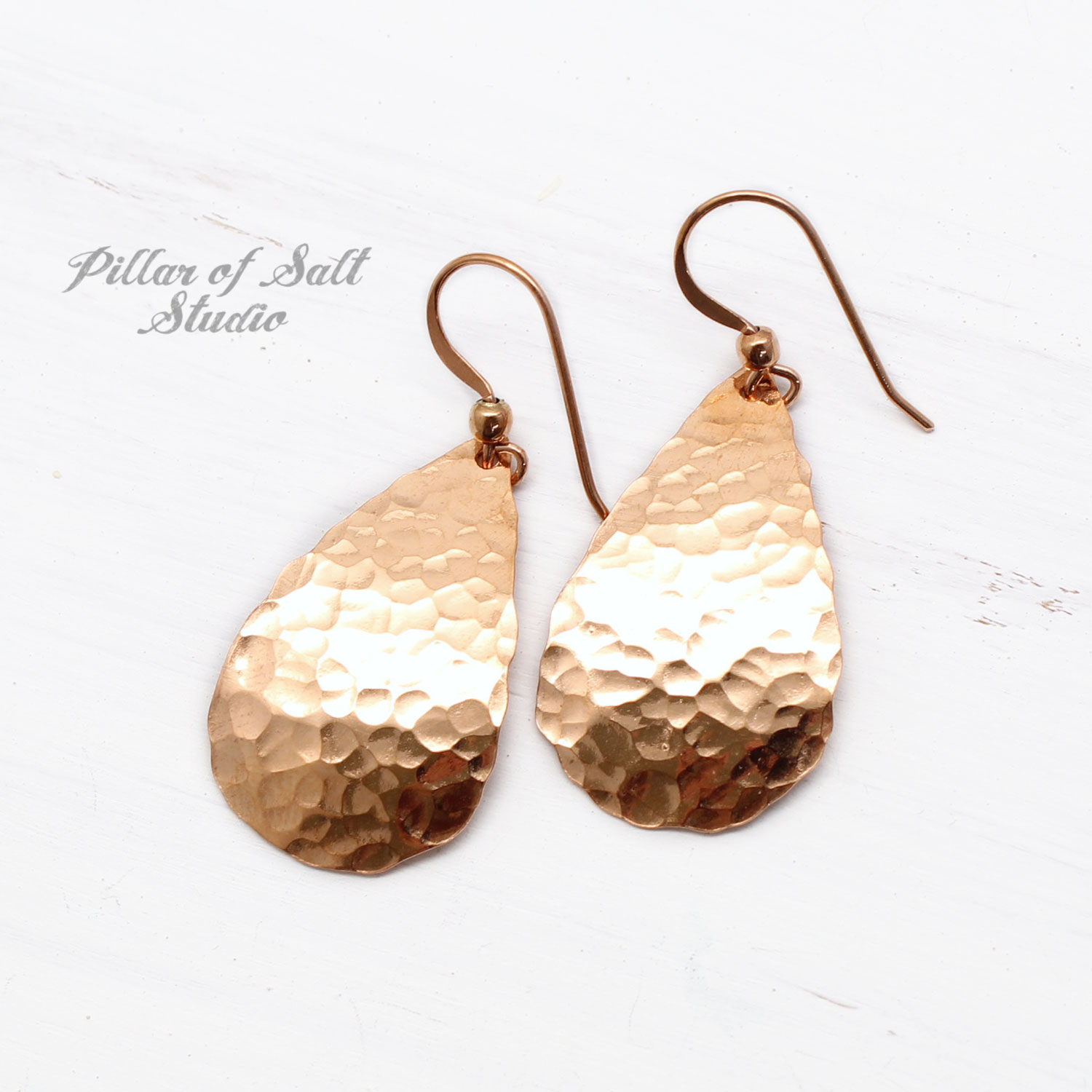 hammered copper teardrop earrings 7th anniversary gift