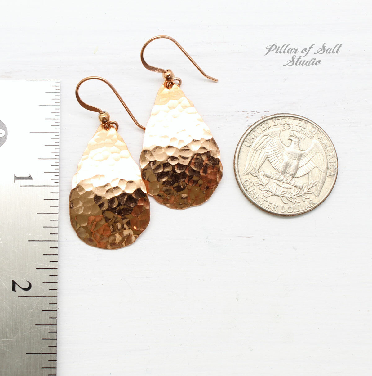 bright shiny hammered copper teardrop earrings by Pillar of Salt Studio