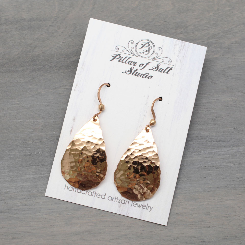 Hammered Copper Teardrop Earrings