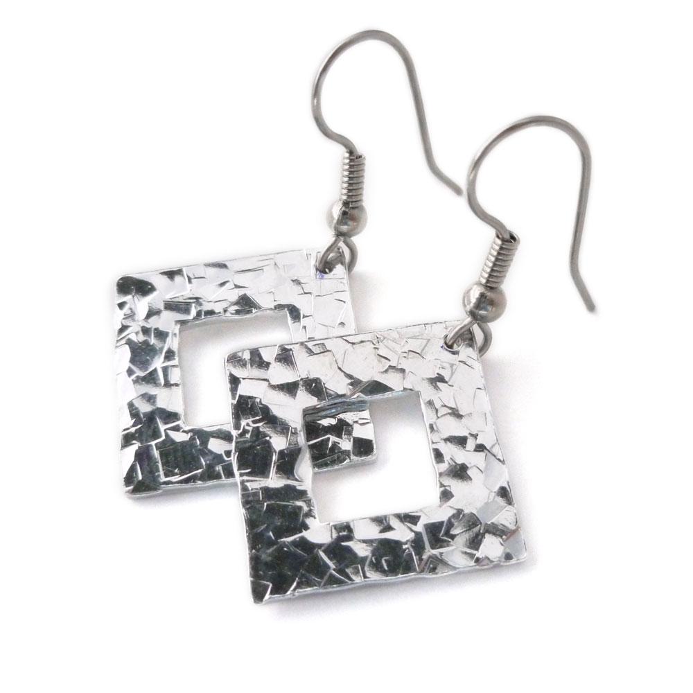Hammered Aluminum Square Earrings