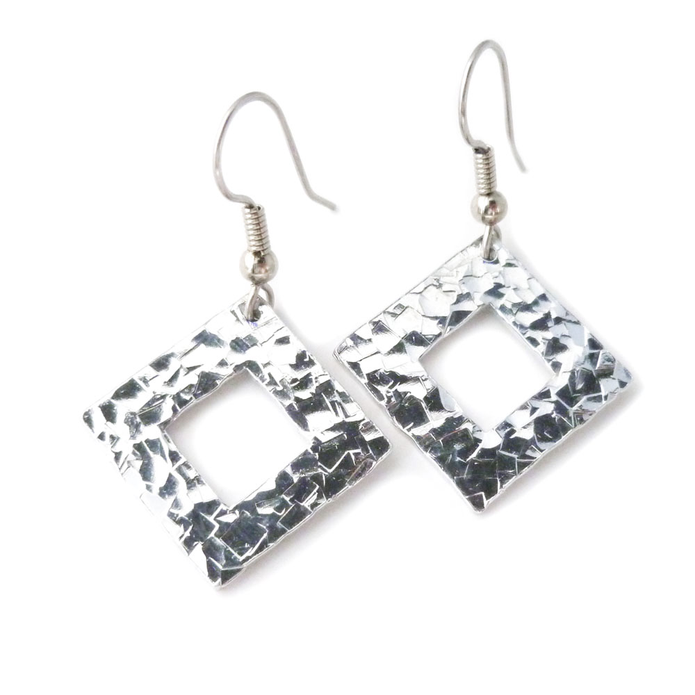 Hammered Aluminum Square Earrings