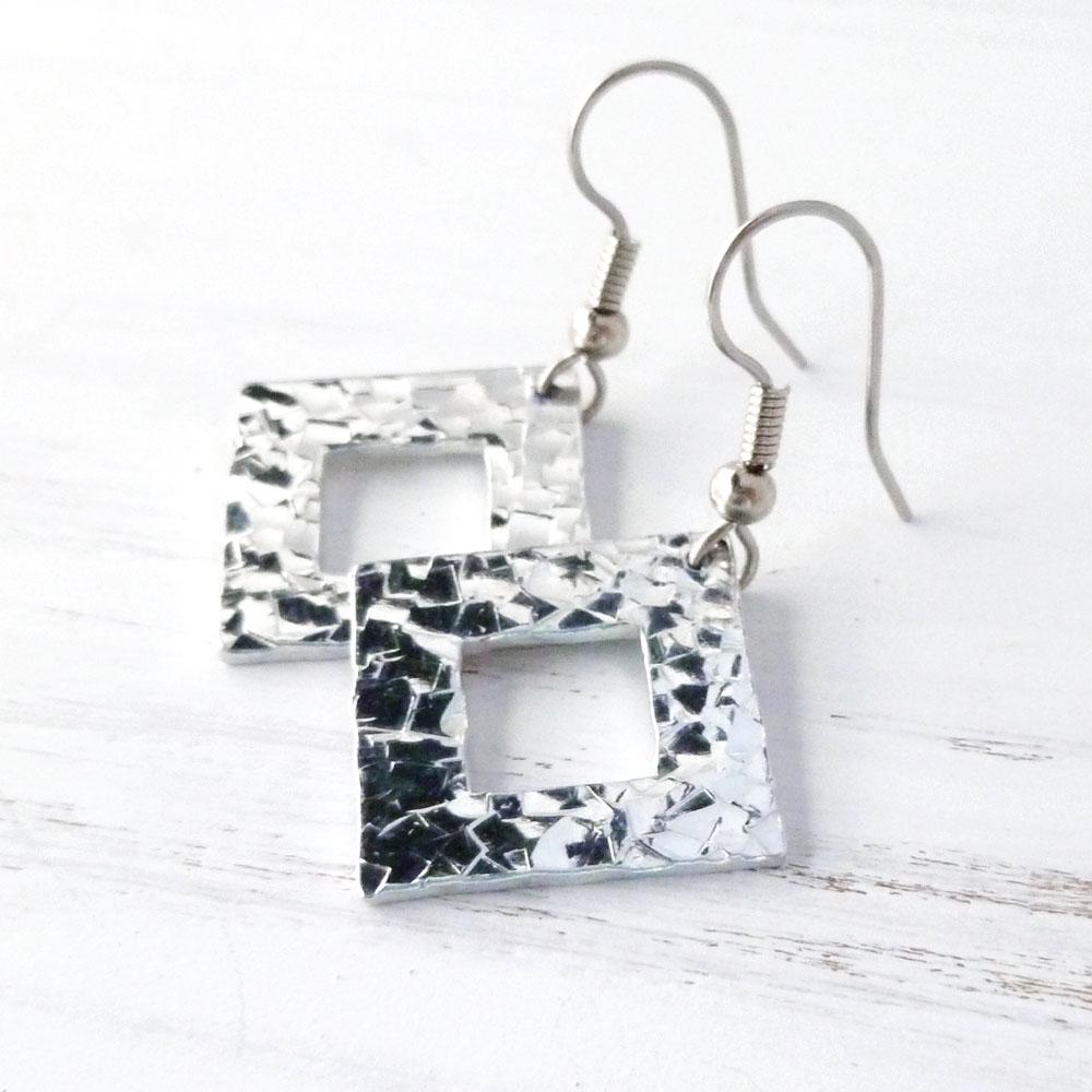 square diamond shaped aluminum hammered earrings