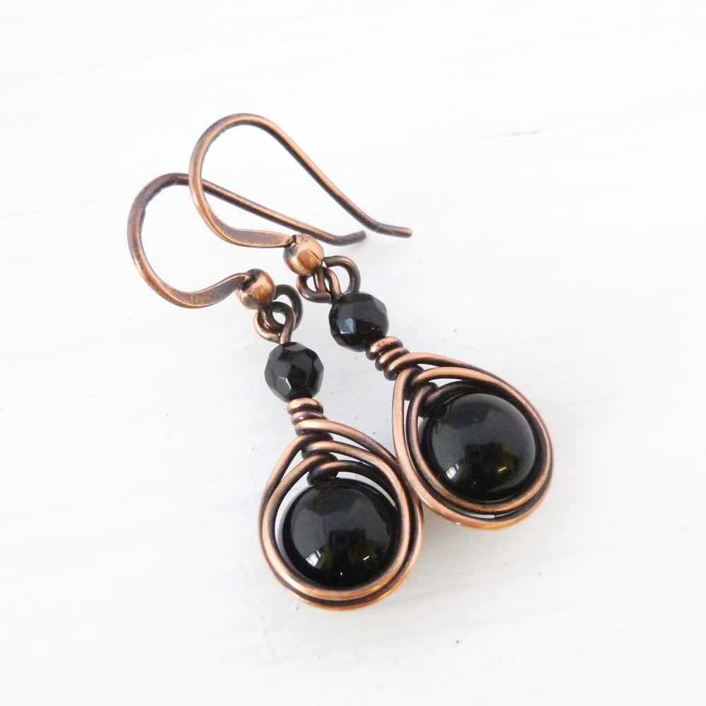 Black Onyx and Copper jewelry gift for 7th anniversary