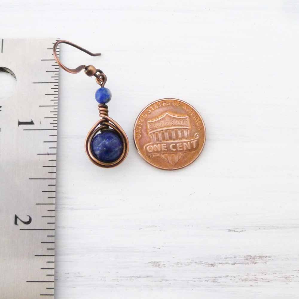 Copper Wire Wrapped Earrings with Lapis Lazuli stones