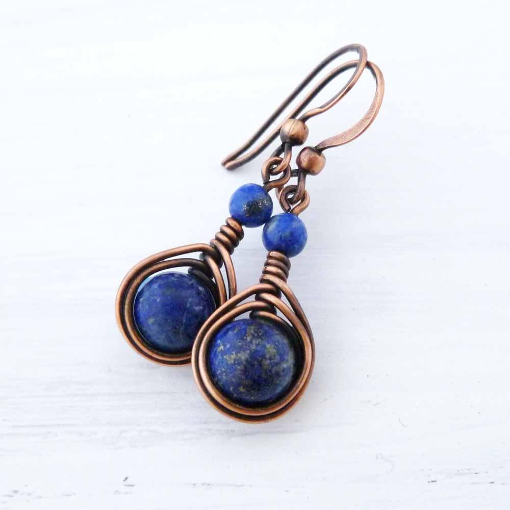 Lapis Lazuli Copper wire wrapped earrings