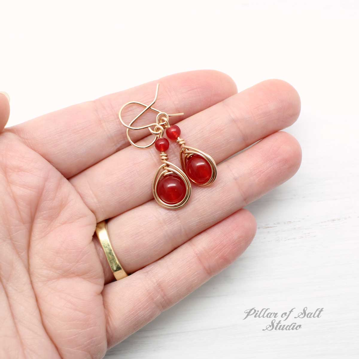 Red Quartz Rose Gold-Filled Earrings