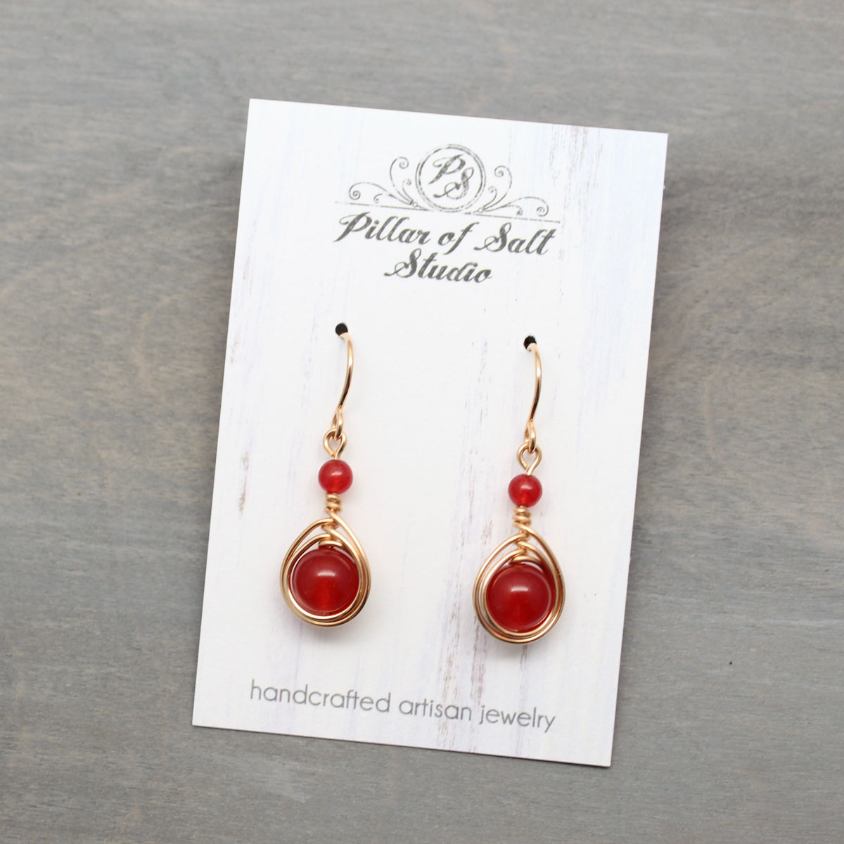 Rose Gold-filled earrings with red quartz stones