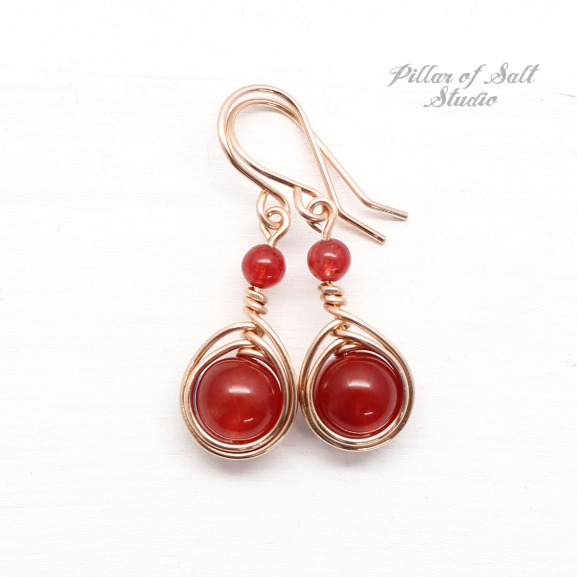 Red Quartz Earrings Worn by Marla Sokoloff on Lifetime movie The Road Home for Christmas