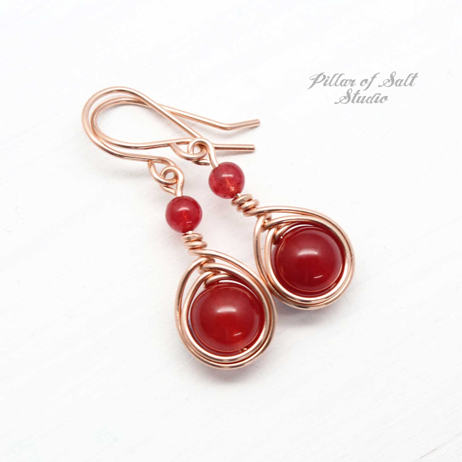 Rose Gold-filled earrings with red quartz stones by Pillar of Salt Studio