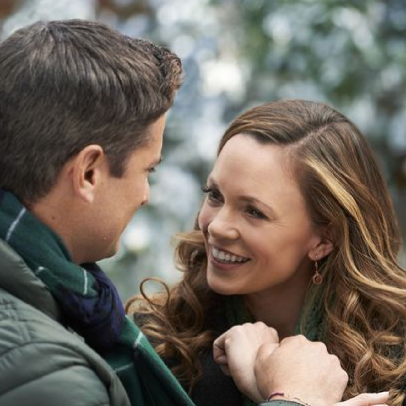 "worn by Rachel Boston in ""Check Inn to Christmas"" on Hallmark Channel."