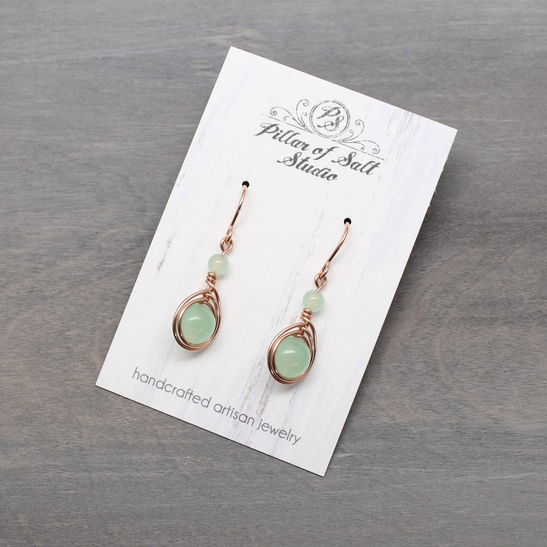 Seafoam Green Quartz Rose Gold-Filled Earrings