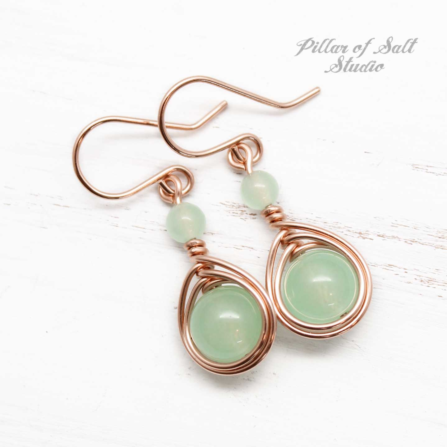 light green quartz stone with rose gold-filled wire wrapped earrings