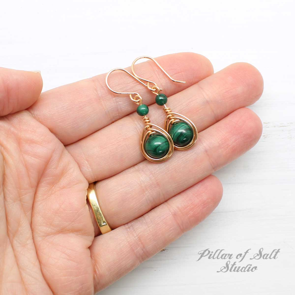 Malachite and rose gold-filled wire wrapped earrings