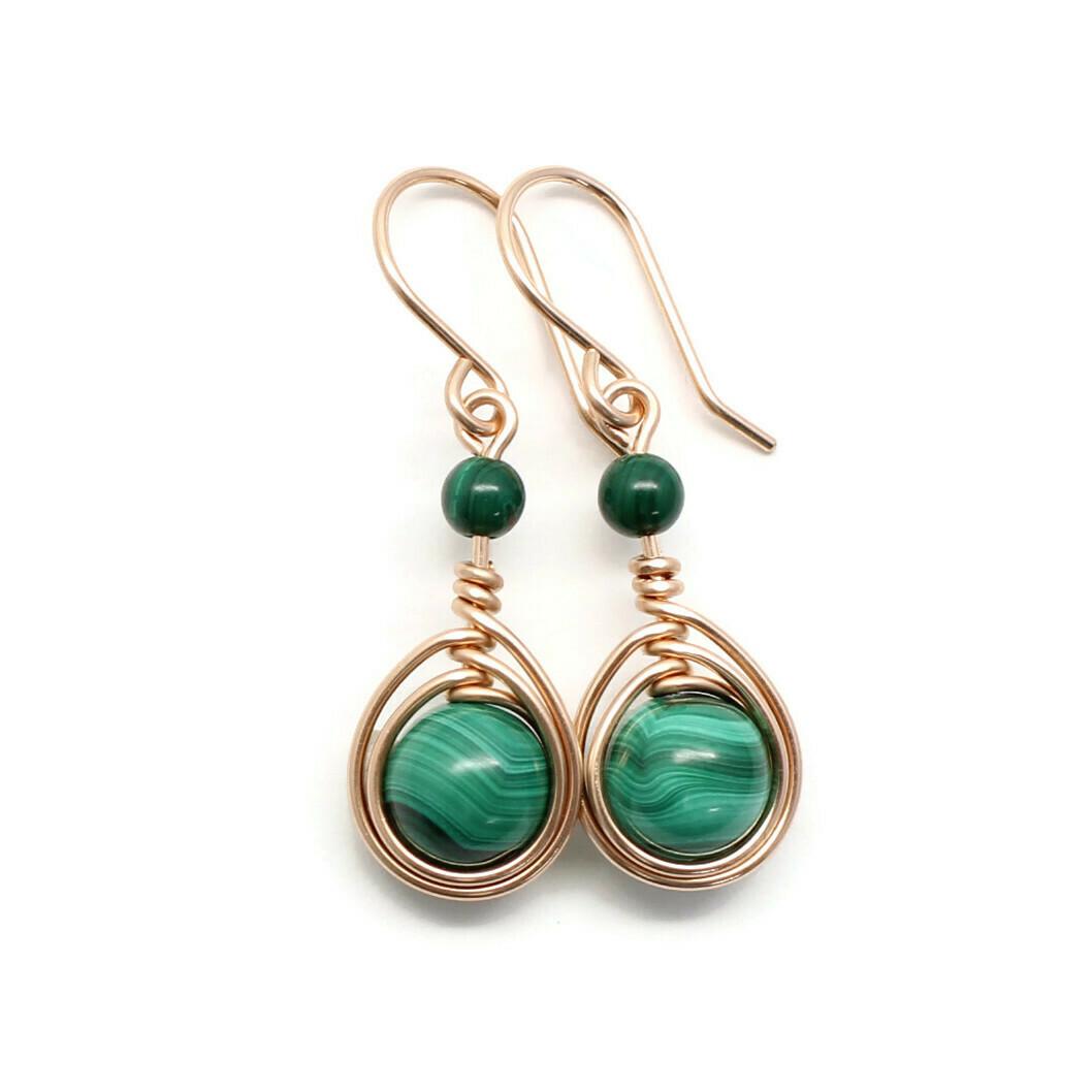 Malachite Rose Gold-Filled Earrings