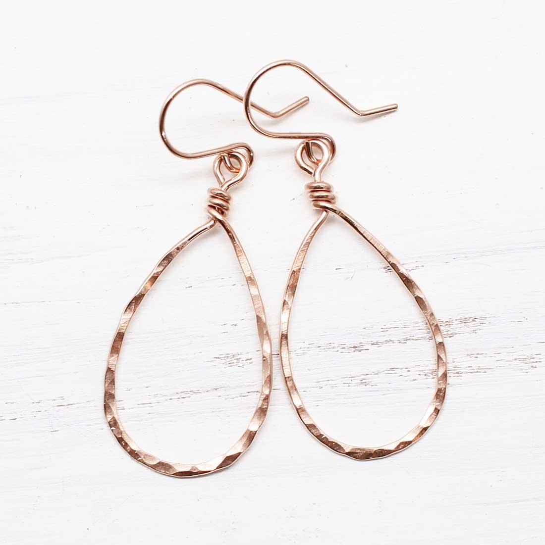 Hammered Teardrop Rose Gold Earrings