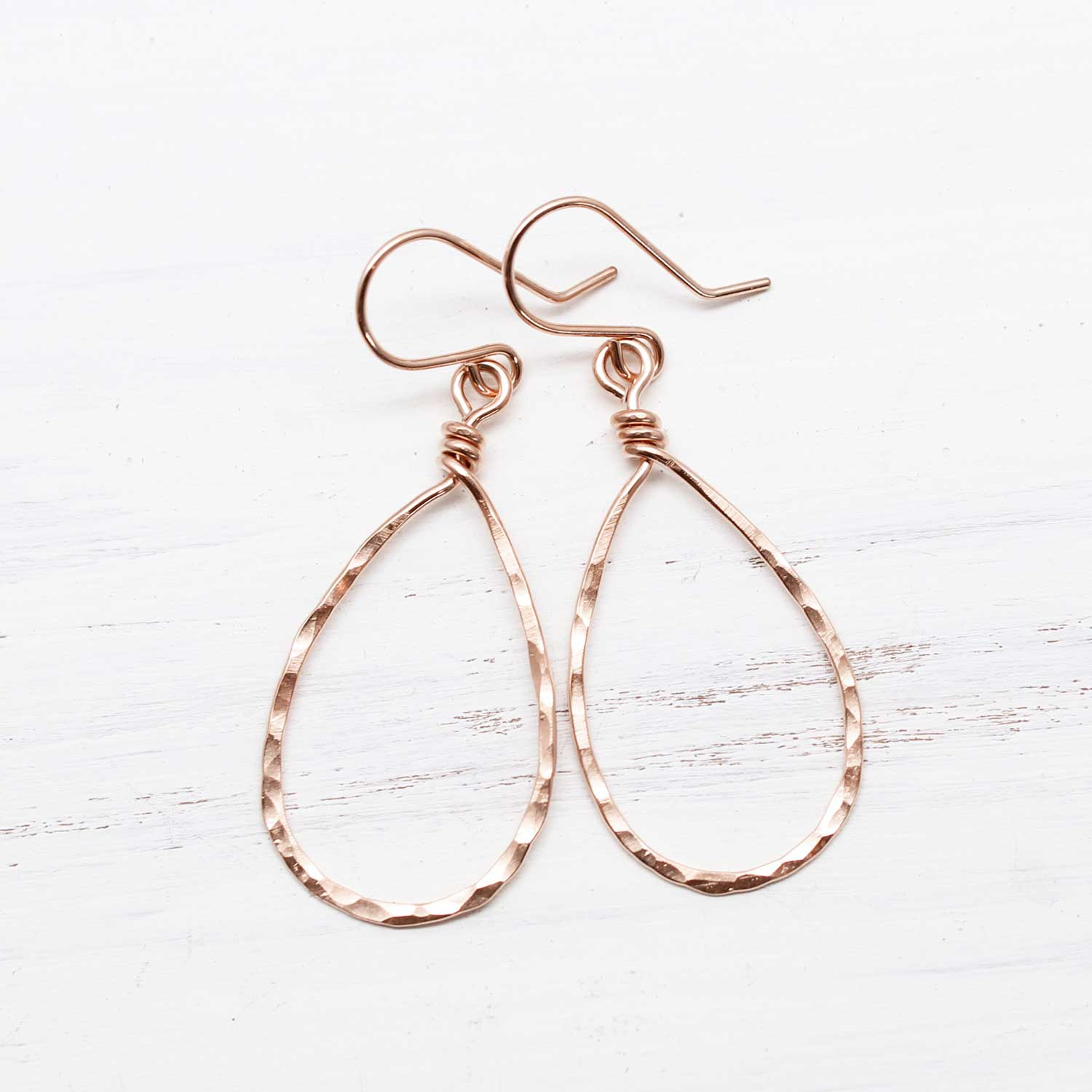 Rose Gold-Filled Hammered Teardrop Earrings