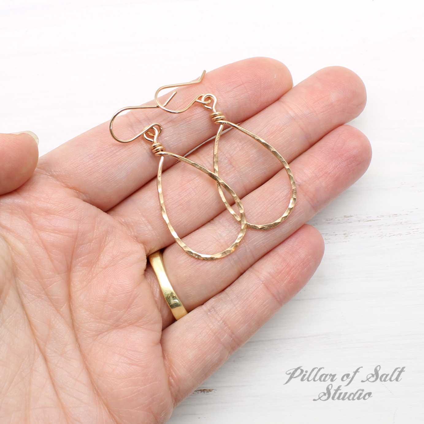 Rose Gold-Filled Hammered Teardrop Earrings