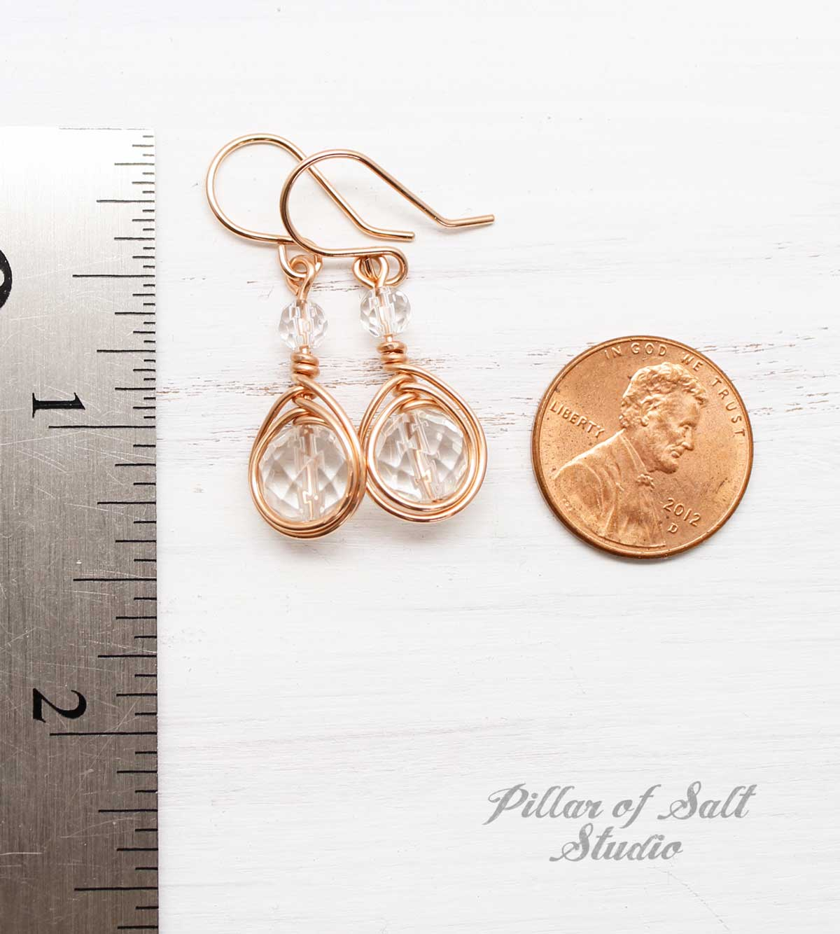 Clear Crystal Quartz Rose Gold-Filled Earrings
