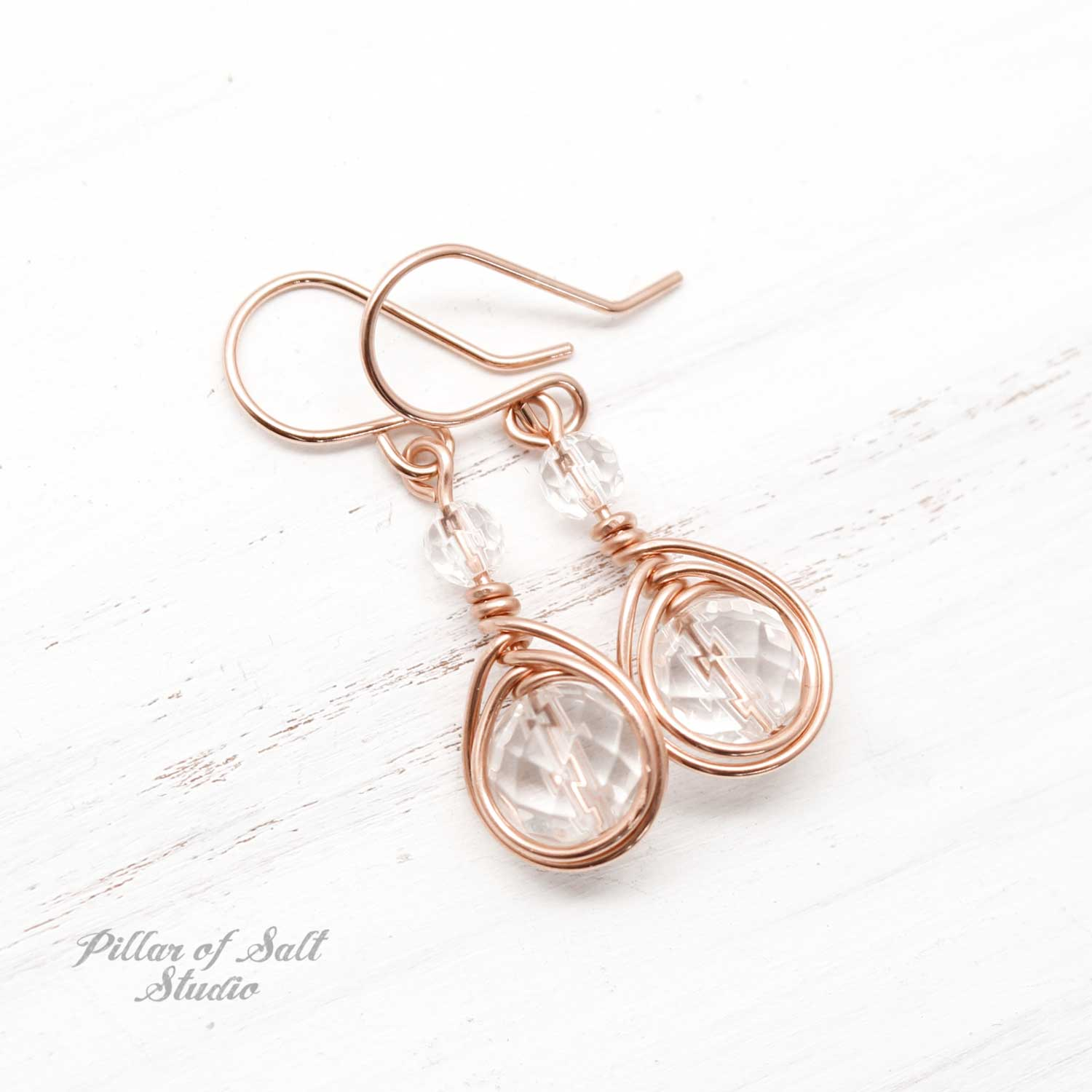 clear crystal quartz rose gold-filled wire wrapped earrings