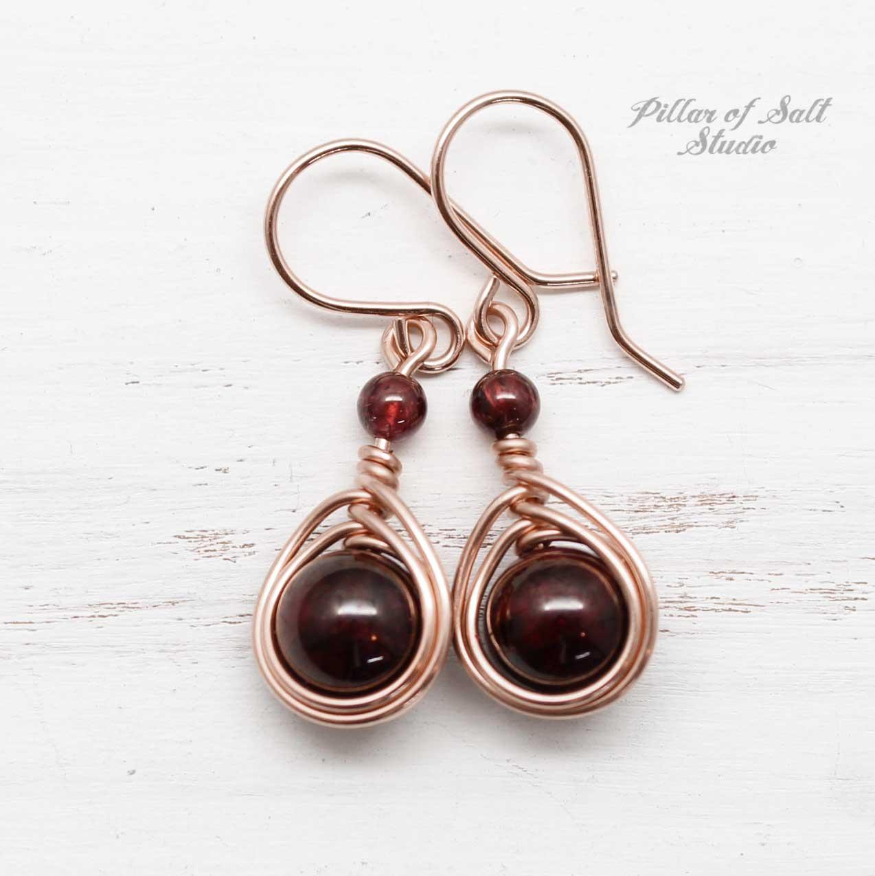 January birthstone Garnet earrings