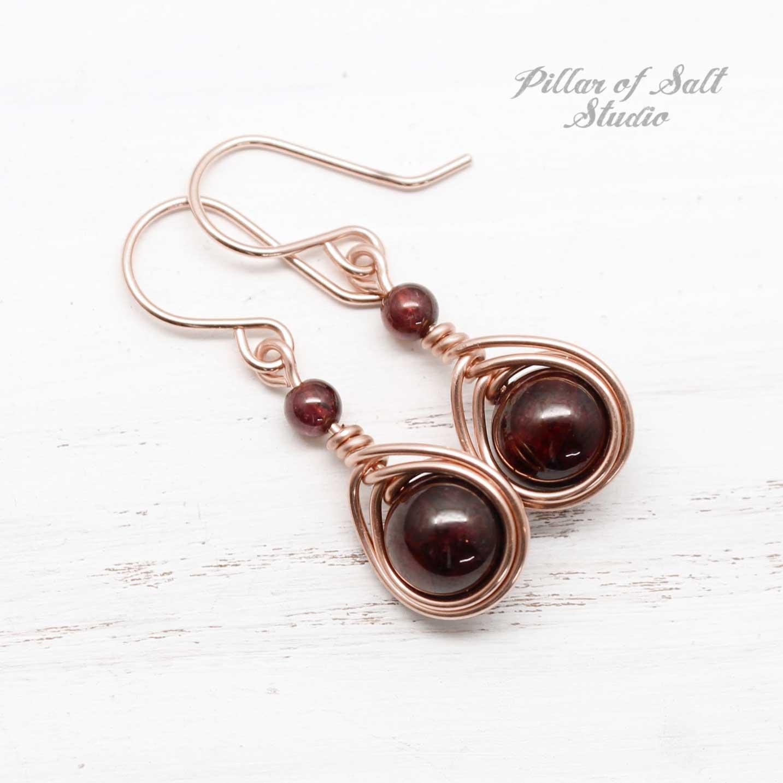 Dark Red Garnet Gemstone wire wrapped earrings