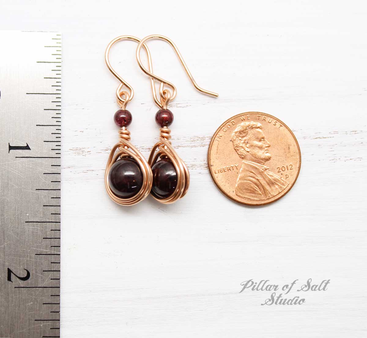 Garnet Rose Gold-Filled Earrings