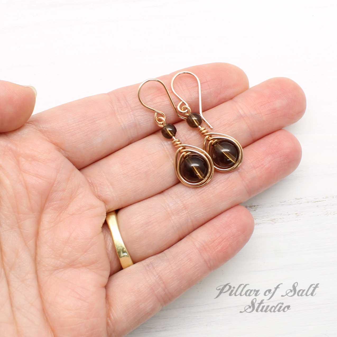Smoky Quartz Rose Gold-Filled Earrings