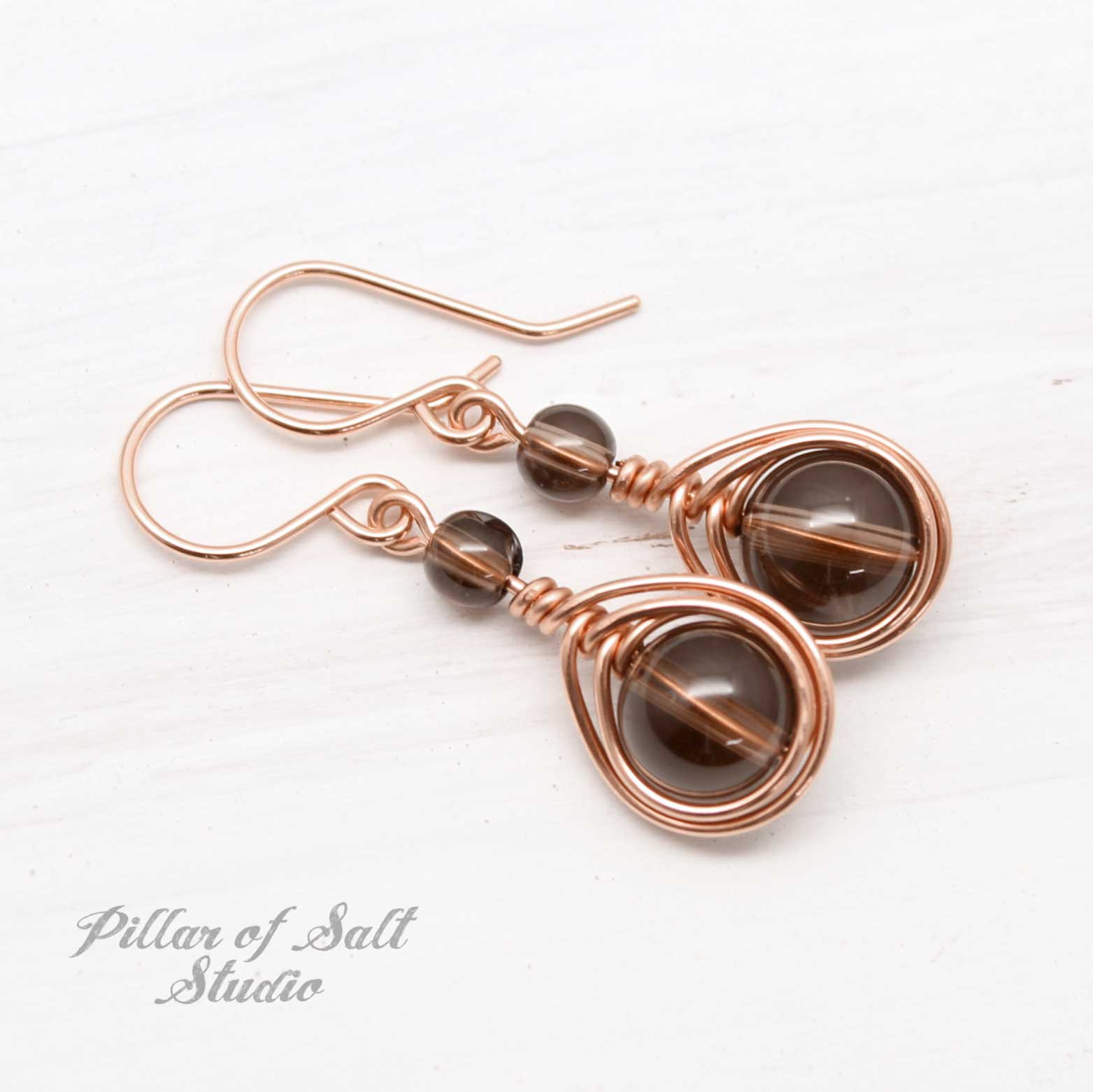 rose gold-filled earrings with smoky quartz stones