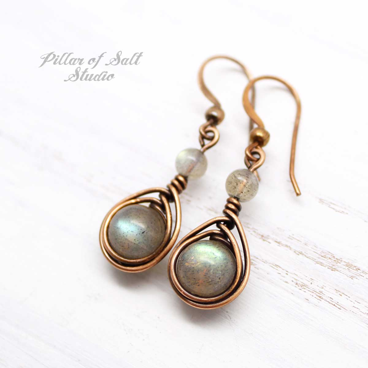 Labradorite earrings in copper by Pillar of Salt Studio