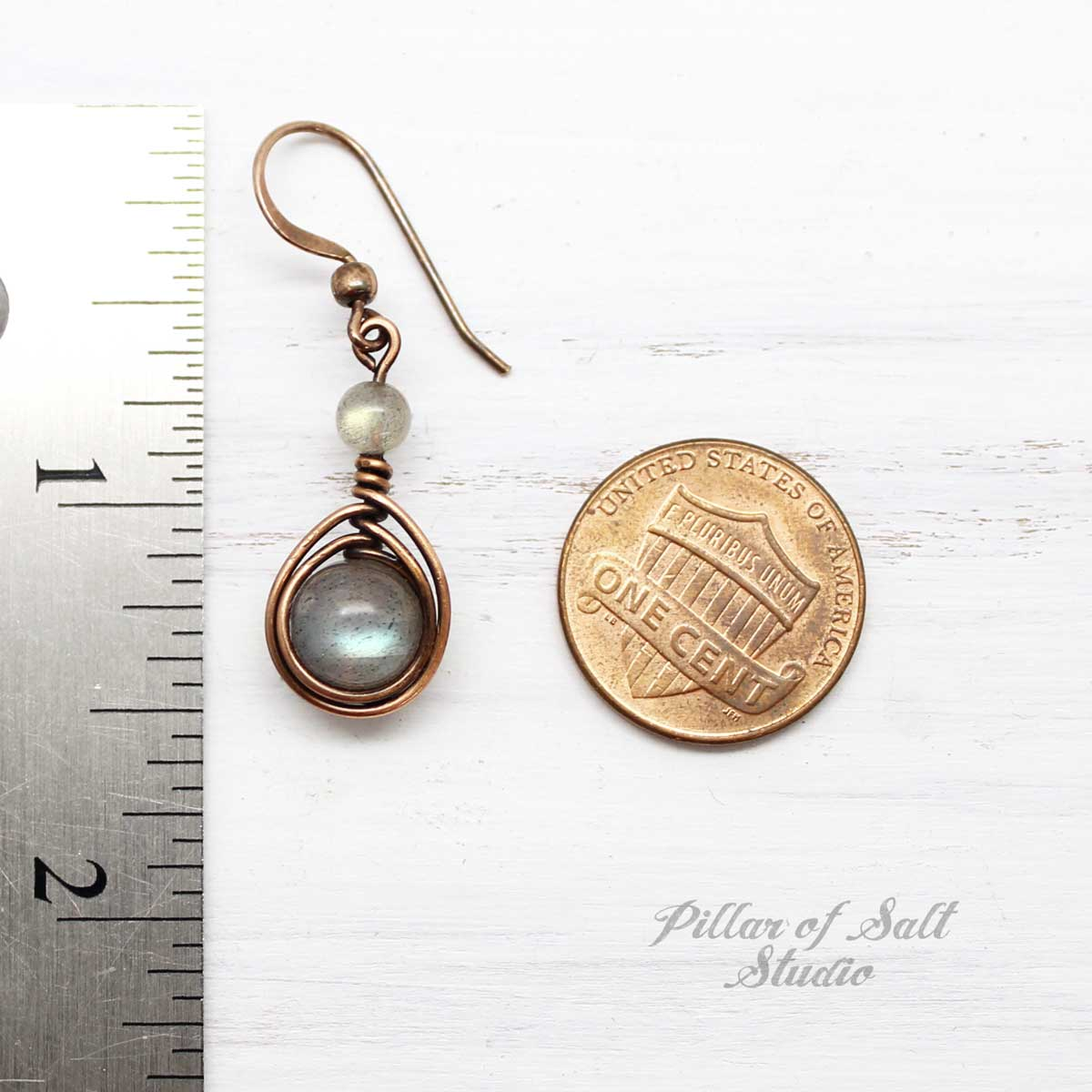 Copper Wire Wrapped Earrings with Labradorite Stones