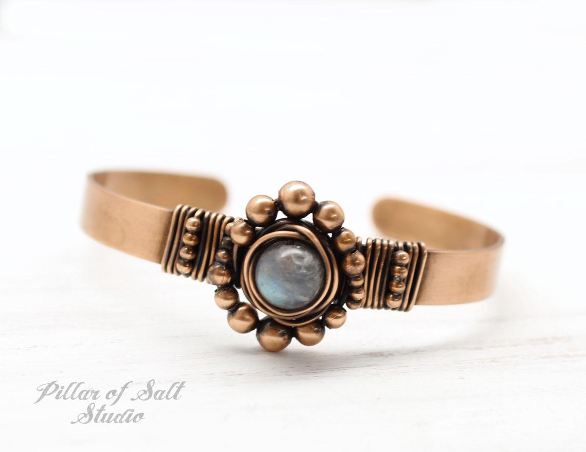 Labradorite and Copper Cuff Bracelet