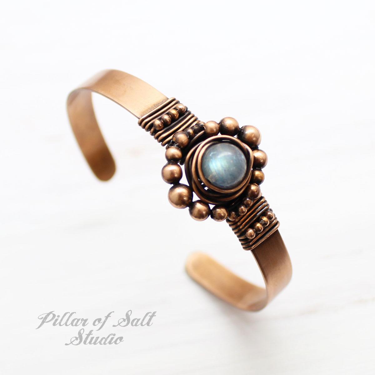 copper and labradorite cuff bracelet