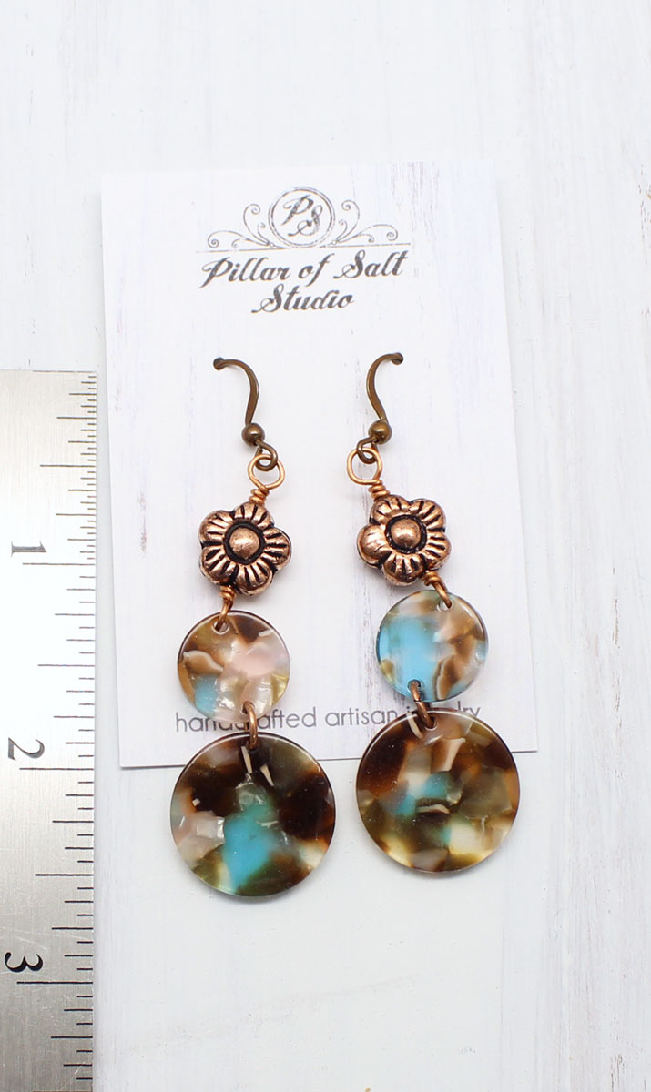 Circle Drop Mermaid Earrings C