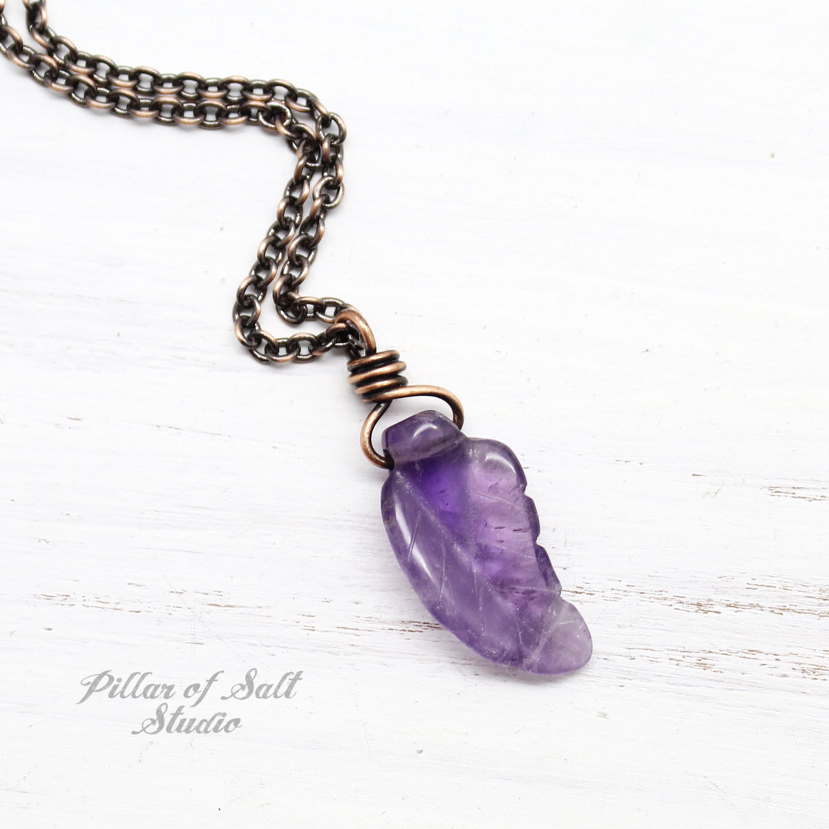 Amethyst Carved Leaf Pendant Necklace