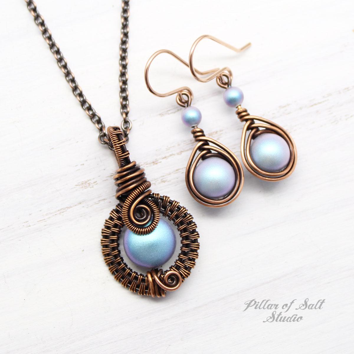 Light Blue Swarovski Pearl Necklace & Earring Set