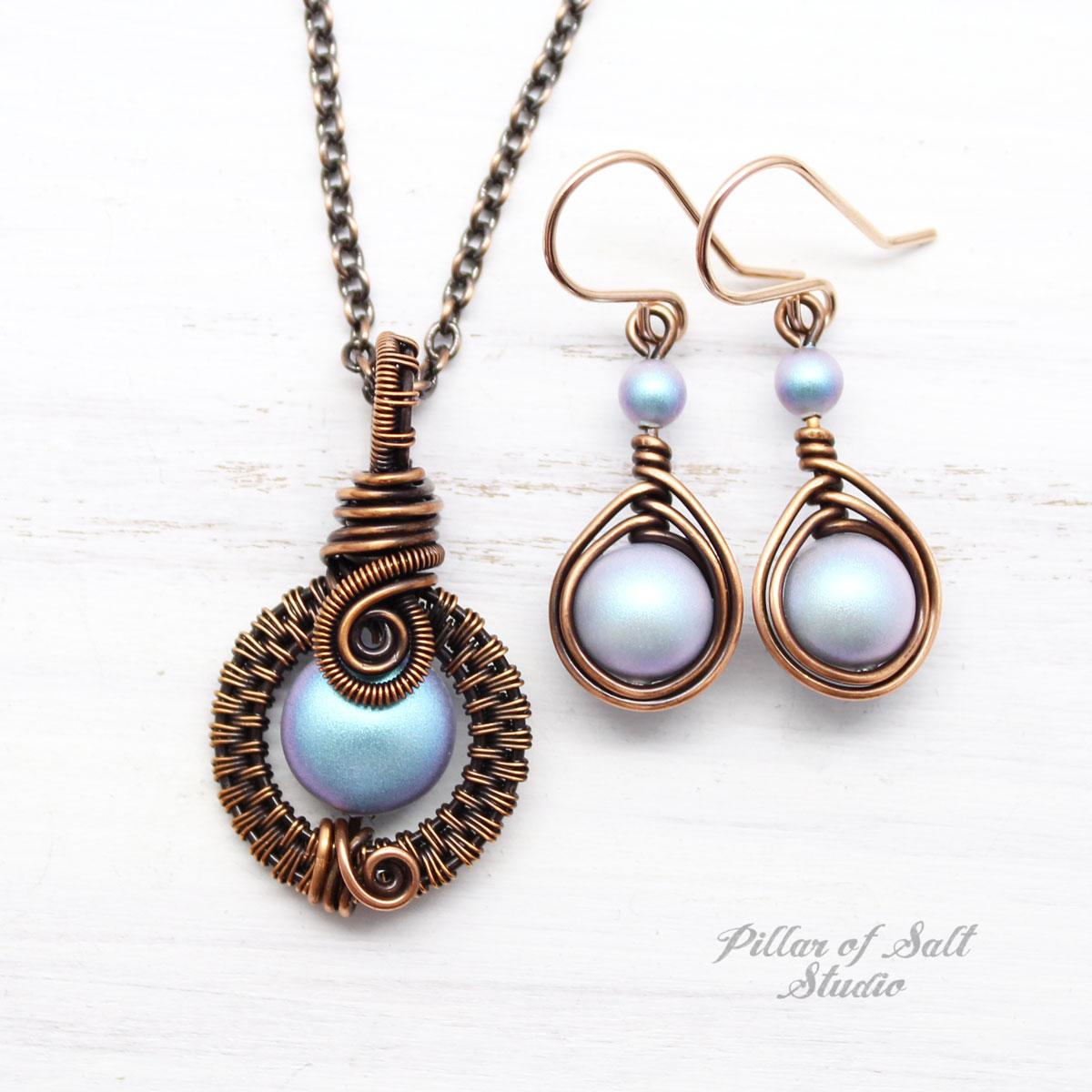Iridescent light Blue Swarovski pearl Copper jewelry set