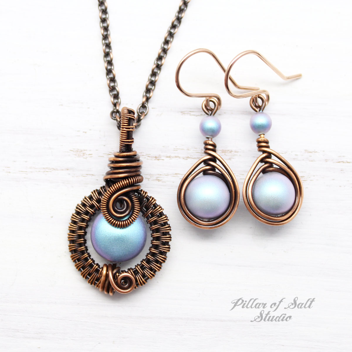 Iridescent light Blue Swarovski pearl Copper jewelry set
