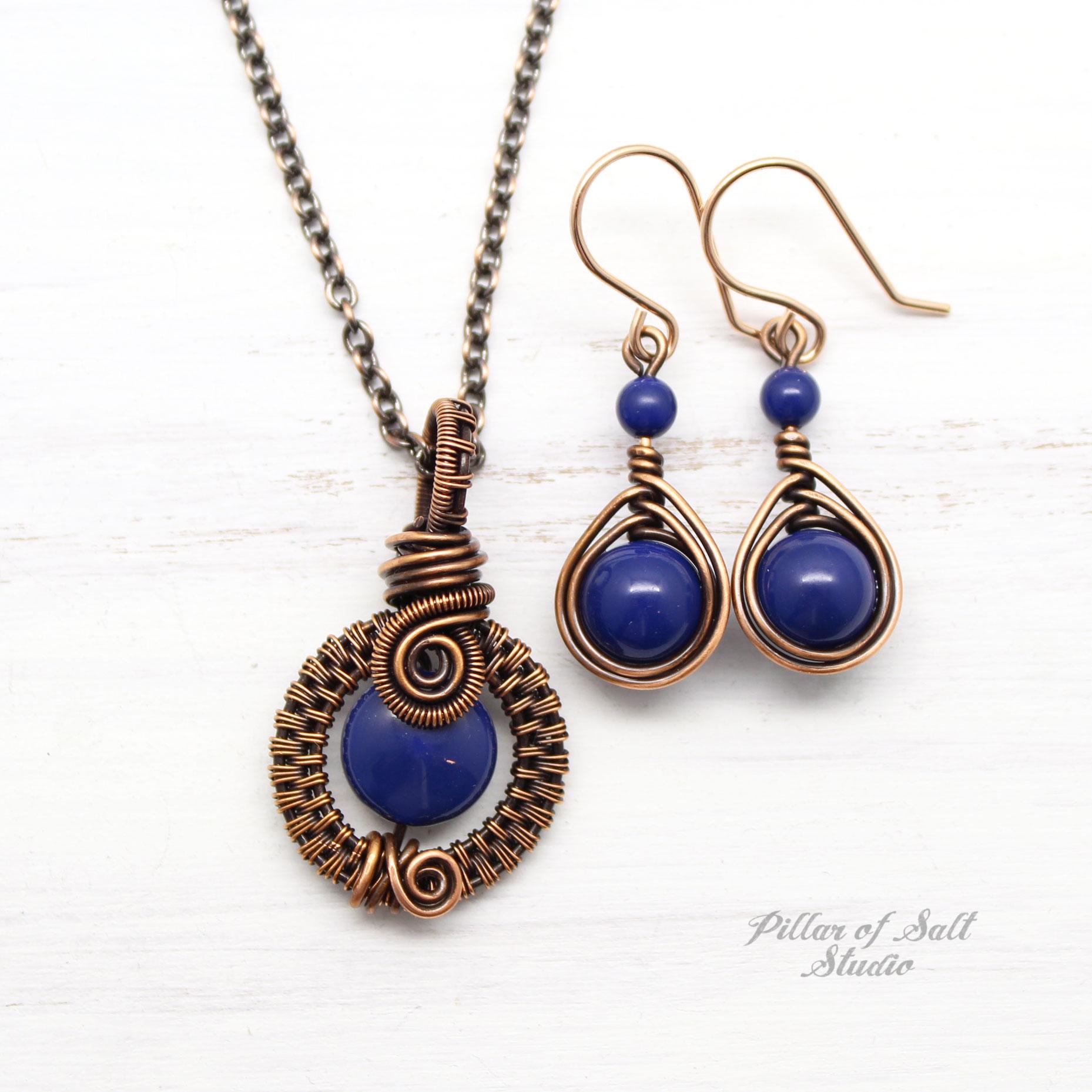 Lapis Blue Swarovski Pearl Necklace & Earring Set