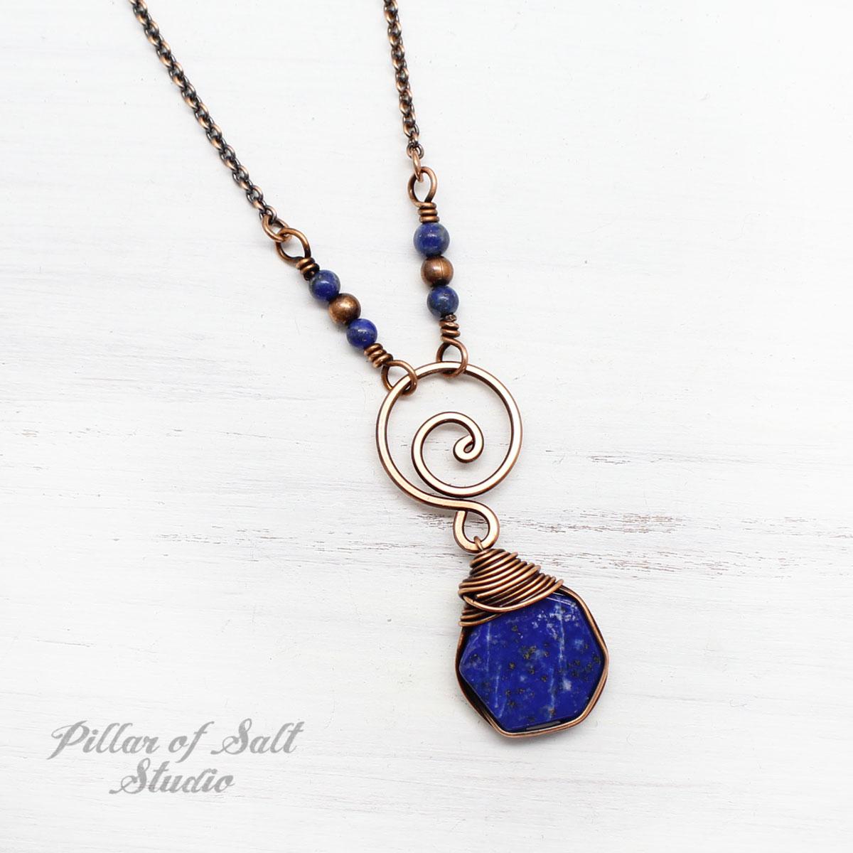 Lapis Lazuli Hexagon Drop Necklace