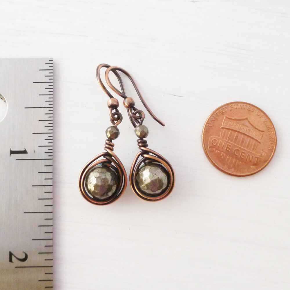 Copper Wire Wrapped Earrings with Pyrite stones