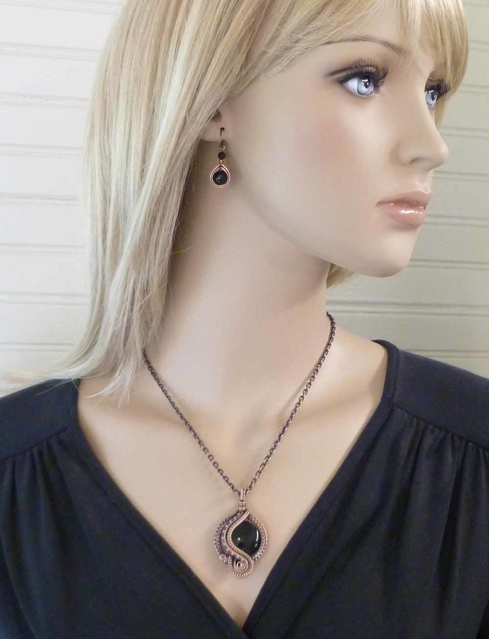 "Shown for size reference (the stone shown is Black Onyx).  Worn here on 18"" chain length."