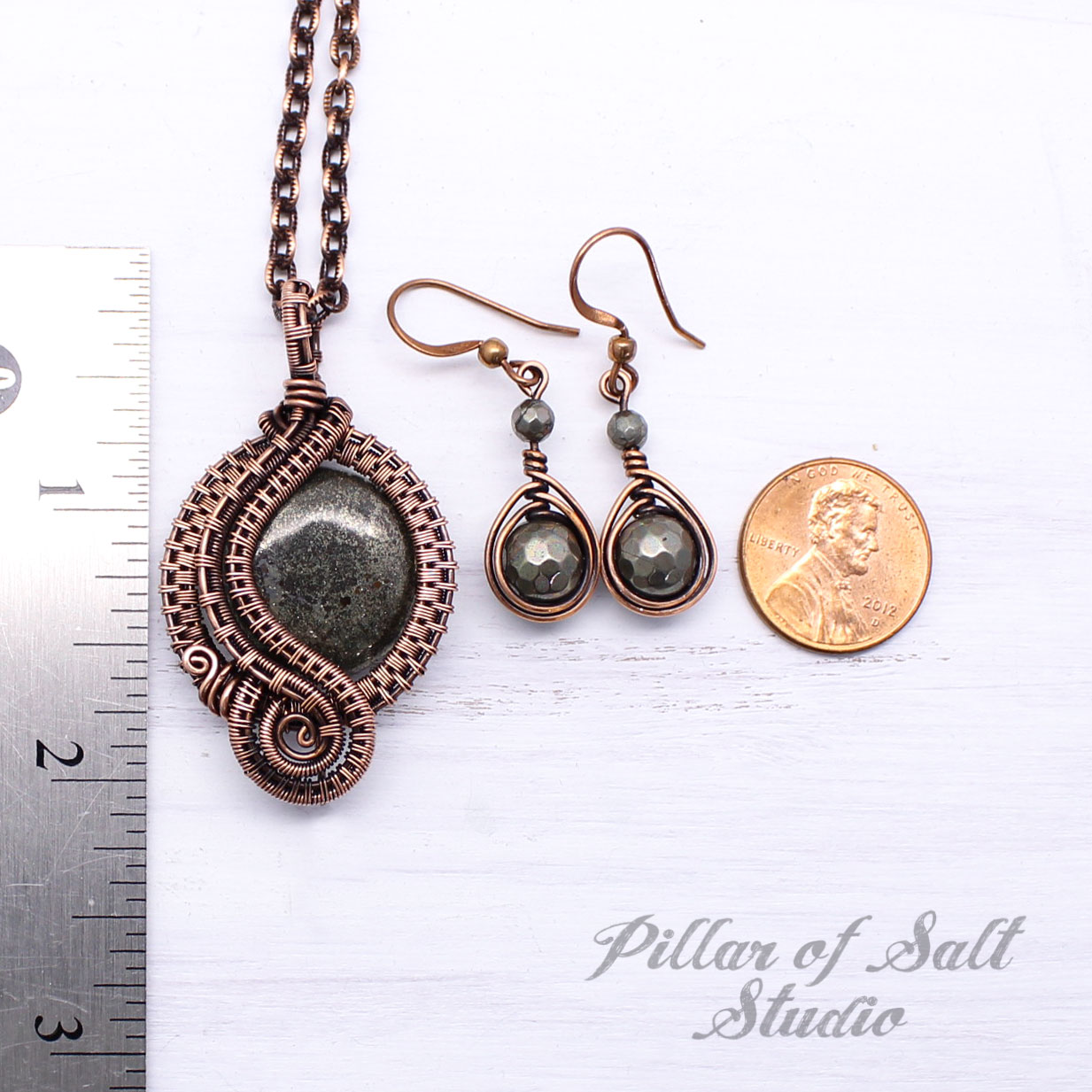 Pyrite Copper Wire Wrapped Jewelry Set