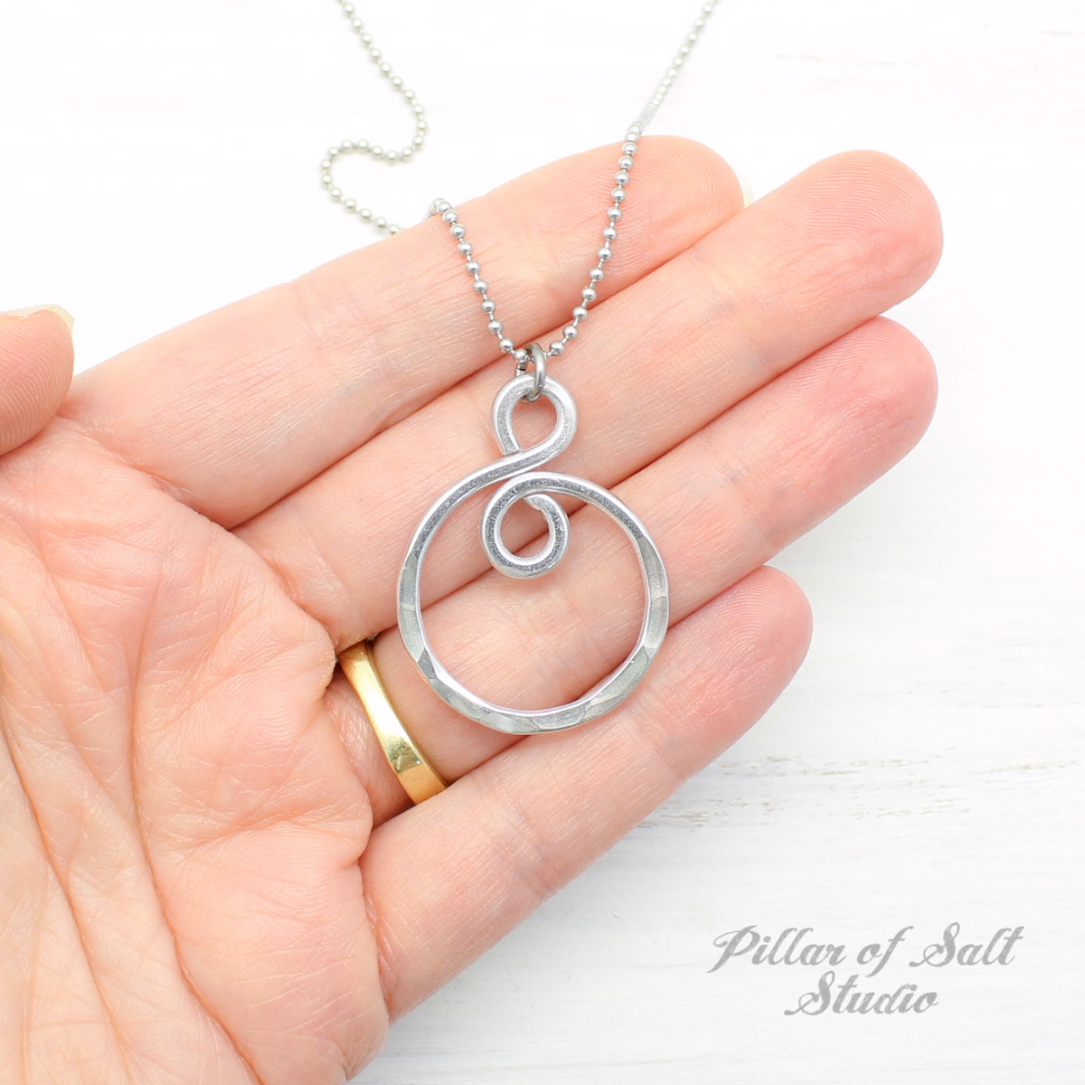 Aluminum Infinity Spiral Necklace